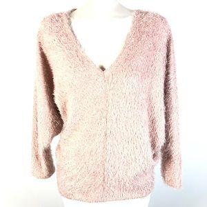 Eclipse v-neck fuzzy sweater